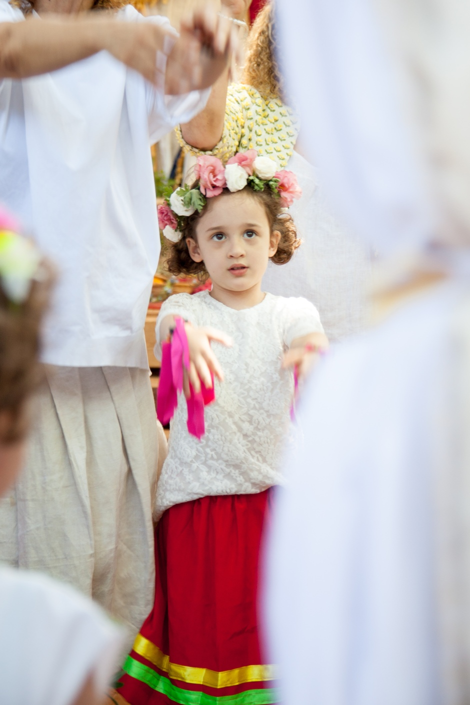 Sophie in flower crown at Shavuot